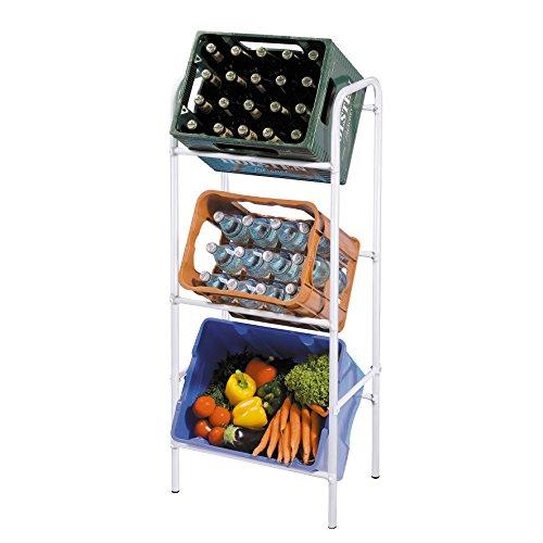 axentia Kastenregal in Grau, Getränkekistenständer für Küche, Keller oder Garage, Flaschenkastenregal für 3 Kästen, platzsparende Kastenhalterung, sicher, standfest