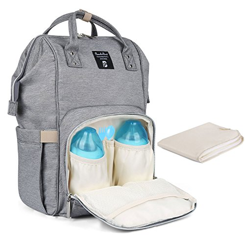 Preisvergleich Produktbild Baby Wickelrucksack Wickeltasche mit Wickelunterlage Multifunktional Oxford Große Kapazität Babyrucksack Kein Formaldehyd Reiserucksack für Unterwegs (Grau)