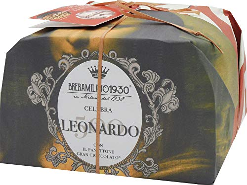 BRERAMILANO 1930 100% Made in Italy PANETTONE Leonardo Limited Edition Master Packaging, Grancioccolato and Authentic with Pieces of Dark Chocolate and Chopped Hazelnuts, 1000gr.