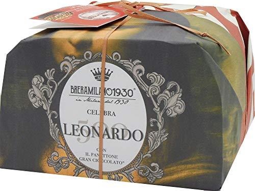Breramilano 1930 100% made in italy panettone leonardo edizione limitata maestri pasticceri , grancioccolato e autentico con pezzi di cioccolato fondente e granella di nocciole, 1000gr.