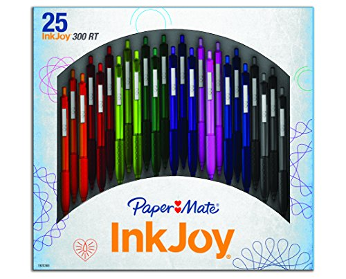 papermate-inkjoy-300-rt-retractable-ball-pen-with-10-mm-medium-tip-assorted-colours-pack-of-25