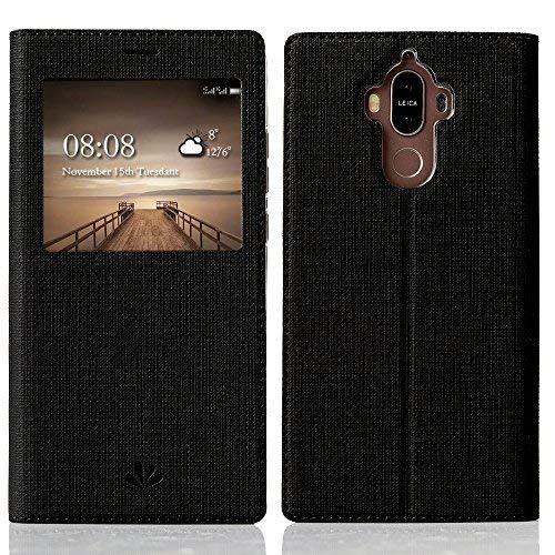 Feitenn Huawei Mate 9 Handyhülle, dünne Premium PU Leder Flip Handy Schutzhülle mit dem Ansichtsfenster | TPU-Stoßstange, Magnetverschluss und Standfunktion Brieftasche Etui (Schwarz)