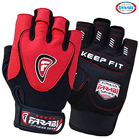 Farabi Gel padded weightlifting strength training bodybuilding gym fitness workout bar weight lifting home gym weighted gloves with weight lifting grip and straps. (Large)