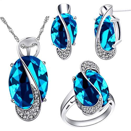 Uloveido Damen Platin Überzogen Erstellt Big Oval Sapphire Anhänger Halskette Clip auf Ohrringe Halo Ringe Cocktail Hochzeit Schmuck Set T472