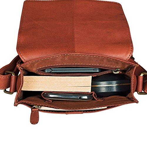 STILORD 'Kilian' Vintage Borsa Messenger piccolo Uomo Donna Borsa a tracolla peri Tablet PC 8.4 pollici cassico in vera pelle siena - marrone, Colore:cognac - used cognac-marrone