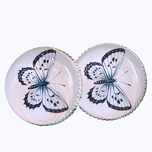 NIKKY HOME Glas Schublade Knöpfe mit Libelle Muster, Schmetterling