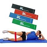 Bandas de Resistencia Fitness ,Set de 4 Cinta de Elasticas Unisexo para Yoga ,Crossfit, Pilates, Entrenamiento de Fuerza, Fisioterapia, Nalgas Piernas Entrenables etc