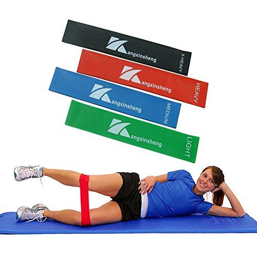 Set aus 4 Fitnessbändern Widerstandsbänder,Loop Fitnessbänder für Yoga, Pilates,Crossfit,Reha-Sport,Training für Männer und Frauen Hüfte Bein
