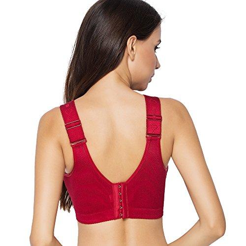 FallSweet Plus Size Reggiseni Per Le Donne Lace Reggiseno Push up Coppe Filo Libero C D Senza Cavi Rosso