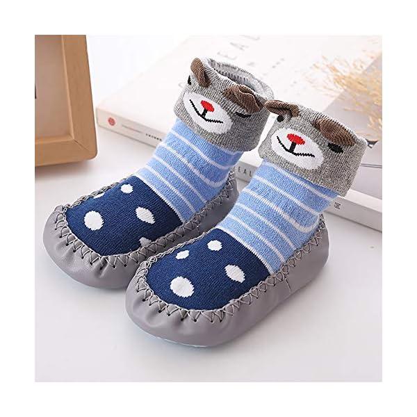 MAYOGO Niños Calcetines Antideslizantes con Suela de Goma Anti-slip Zapatos de Primer Paso para Bebés Zapatillas de Casa… 4