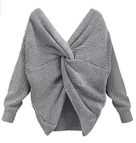 Lonlier Damen Pullover Sexy Strickpullover V Ausschnitt Stricken Sweater Kreuz Rücken Langarm Oberteile Frauen Rückenfrei Loose Grau