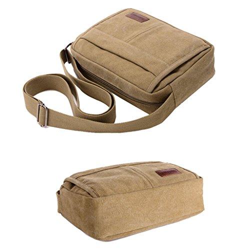 Super Modern Leinwand Umhängetasche Messenger Bag Retro Leichte Kleine Umhängetasche Mini iPad Tasche Wandern Tasche Freizeit Daypack Khaki