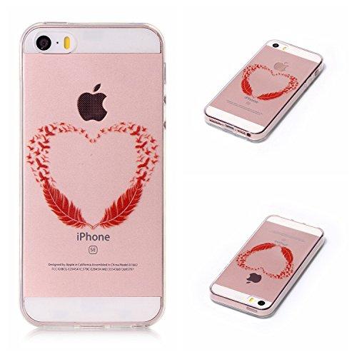 Qiaogle Telefon Case - Weiche TPU Case Silikon Schutzhülle Cover für Apple iPhone 6 / iPhone 6S (4.7 Zoll) - LF08 / Fuck You LF11 / Rote Feathers