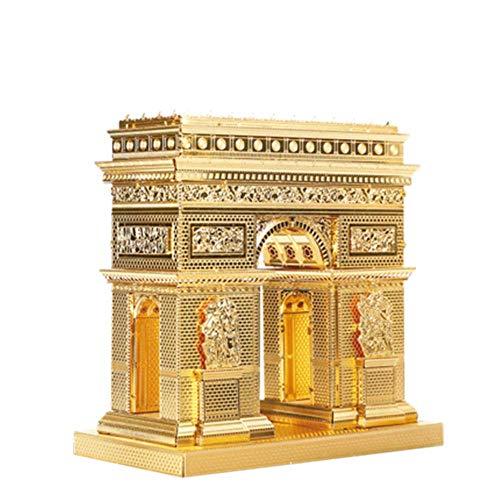 MQKZ Arc de Triomphe 3D Puzzle en métal en Trois Dimensions assemblé à la Main modèle de Construction créatif Adulte Jouet Maison Puzzle pour Enfants Or + Outil A + B Taille Unique