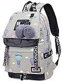 wewo Rucksack Schule Nylon Schulrucksack Mädchen Schultache Printing Laptop Backpack Groß Kapazität Damen Daypacks mit USB-Anschluss (Grau)