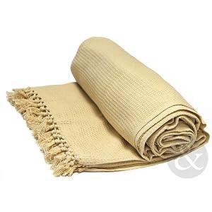 """Just Contempo Überwurf/Tagesdecke, aus 100 % Baumwolle, mit Wabenstruktur, extragroß, 100 % Baumwolle, Beige ( natural ) ( thick heavy next ), Chair Throw 50"""" x 60"""" ( 127x152cm ) settee"""