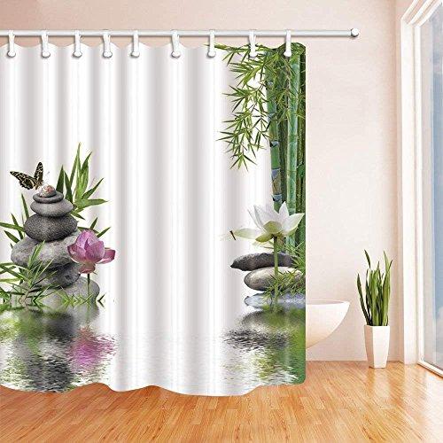 CDHBH Spa Decor Lotus mit Bambus Blätter Schmetterling Fliegt auf Den Stein Bad Vorhang Polyester Stoff Wasserdicht Duschvorhänge 180,3x 180,3cm Haken Grün Inklusive (Bambus Bad Blatt)