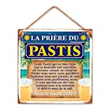 Plaque Deco Metal 20x20 Cm la Prière du Pastis