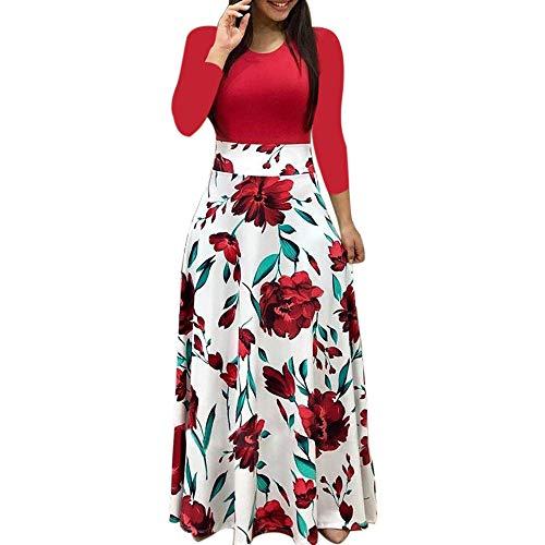VEMOW Herbst Frühling 2018 Damen Frauen Langarm Printkeid Floral Boho Print Elegante Lange Maxi Kleid Strand Party Casual Kleider(Rot, ()
