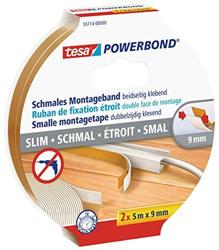 tesa doppelseitiges Montageband Powerbond SCHMAL, 2 x 5m x 9mm