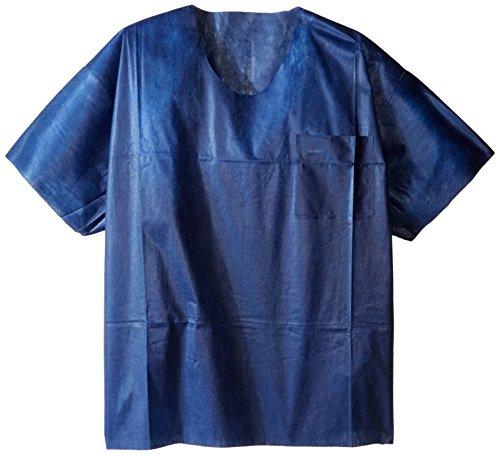 valumax U-NECK desechables (talla, no ver a través de, No-Wrinkle, profesional, resistente a los fluidos, azul marino, pack de 10
