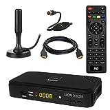 HB DIGITAL DVB-T/T2 SET: Opticum Lion 3 HD H.265 HEVC DVB-T/T2 Receiver + Xoro HAN 100 DVB-T/T2, FM, DAB Aktive Antenne (Full HD, HEVC/H.265, HDTV, HDMI, USB 2.0 DVBT DVBT2 DVB-T2)