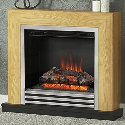 Be Modern Devonshire Oak Surround Chrome Electric Fire Logs Fireplace Suite 2kW