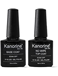 Kanorine UV LED Soak Off Gel Nail Polish Top Coat and Base Coat Set of 2-10ml Each(Base & No Wipe Top Coat)