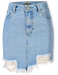 MALLTY Womens zerrissen Kurze Jean Rock Package Hip Mini Röcke (Color    Blue, Size 57d98605de