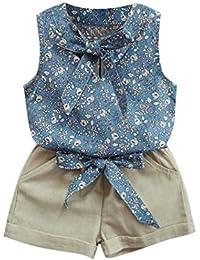 Ropa para chicas, RETUROM Nuevo estilo niña Bowknot Floral chaleco + pantalones cortos trajes