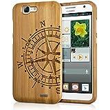 kwmobile Funda para Huawei Ascend G7 - Case protectora de madera bambú - Carcasa dura Diseño Brújula en marrón claro