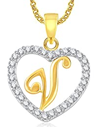 Meenaz 'V' Letter Heart Pendant Locket Alphabet For Women And Men With Chain Gold Plated In American Diamond Cz