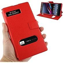 Wkae Case & Cover Pebble Funda de cuero Textura con la pantalla de llamadas Identificación y soporte para Sony Xperia Z Ultra / XL39H ( Color : Red )