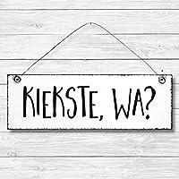 Kiekste wa - Dekoschild Türschild Wandschild Holz Deko Schild 10x30cm Holzdeko Holzbild Deko Schild Geschenk Mitbringsel Geburtstag Hochzeit Weihnachten