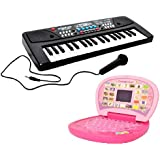 Combo Of 37 Key Piano Keyboard Toy With DC Power Option, Recording And Mic With Learning English Mini Screen Laptop For Kids