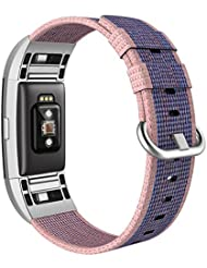 """Fitbit Charge 2 Armband, Swees Nylon Sportarmband Uhrenarmband Replacement Wrist Strap für Fitbit Charge 2 Smartwatch Small & Large (5.3""""-8.2"""") - Blau, Schwarz, Rosa"""