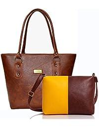 [Sponsored]Mammon Women Handbag And Sling Bag Combo (HS-combo-tan, 40x30x10 CM)