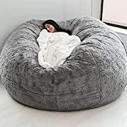 CHOSMO Home Sponge Bed Bean Bag Chair Cover Slipcover Double Bedroom Balcony Large Couch Round Soft Fluffy Cov