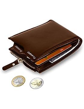 MPTECK @ Marrón Cartera Bloqueo RFID para hombre Estilo plegable Monedero Billetera de PU Cuero con Bolsillo para...