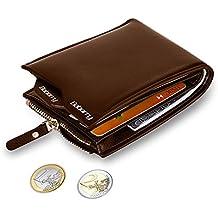 MPTECK @ Marrón Cartera Bloqueo RFID para hombre Estilo plegable Monedero Billetera de PU Cuero con