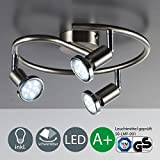 Foco LED de techo / Lámpara de techo / Foco / GU10 / 3 vatios / 250 lúmenes / orientable / incluye anillo cromado / níquel mate, níquel mate, 3er Spot, GU10 [Clase de eficiencia energética A+]