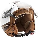 SOXON SP-325-URBAN White · Helmet Cruiser Mofa Bobber Urban Chopper Vespa Scooter Vintage Urbano Casco Demi-Jet Piloto Retro Moto motocicleta Biker · ECE certificado · diseño de cuero · visera incluido · incluyendo bolsa de casco · Blanco · M (57-58cm)
