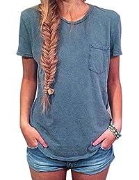 LHWY Las Mujeres Verano Bolsillo Manga Corta Camisa Camiseta Casual