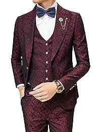 Ouye Hombres de hojas patrón Jacquard 1botón 3piezas traje chaqueta chaleco pantalones Set