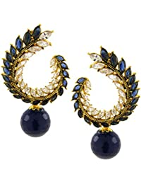 The Jewelbox Crescent Marquise Blue American Diamond Cz Gold Plated Chaand Bali Jhumki Earring For Women