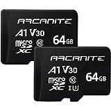ARCANITE - Pack de 2 tarjetas de memoria microSDXC de 64GB, UHS-I U3, A1, V30, 4K, Clase 10, microSD
