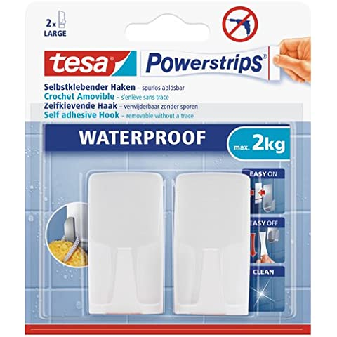 Tesa 59701-00000-00 Powerstrips Waterproof Wave Gancio Adesivo, Bianco