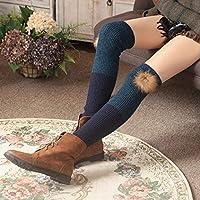 ZHEG Calcetines De Mujer Calcetines Cálidos Cubiertas De Pierna De Punto Piernas De Manga Rodilleras Calcetines De Rodilla-Dqzq_Talla Única