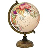 Globeskart Educational/Antique Globe with Brass Antique Arc and Wooden Base / World Globe / Home Decor / Office Decor / Gift Item / 8 inches (Cream Multi Contour)