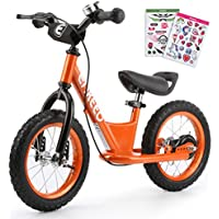 Enkeeo Balance Bike No Pedal with Adjustable Upholstered Seat, Soft Handlebars, Enhanced Tyres, Wide Footrests, DIY Stickers, Bell, Hand Brake, Carbon Steel Frame and Stand, Safe andd Comfortable for Kids Toddlers